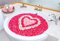 As pétalas de Rosa e o leelawadee com coração dão forma à decoração no bathtu Foto de Stock Royalty Free