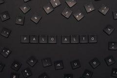 As palavras 'Palo Alto 'montaram das chaves de teclado pretas foto de stock royalty free