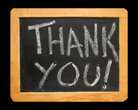 As palavras agradecem-lhe no quadro-negro Fotografia de Stock