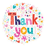 As palavras agradecem-lhe tipografia que rotula o cartão de texto decorativo Fotografia de Stock Royalty Free
