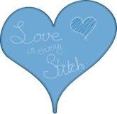 Coração azul bordado Fotografia de Stock Royalty Free