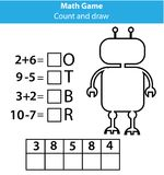 As palavras confundem o jogo educacional das crianças com equações da matemática Jogo da contagem e das letras Aprendendo números Fotografia de Stock