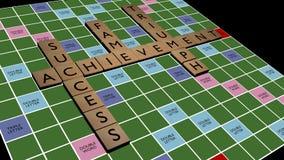 As palavras cruzadas do sucesso escarafuncham sobre a placa Imagens de Stock