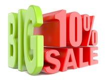 As palavras 3D grandes da venda e dos por cento 10% assinam Fotos de Stock Royalty Free