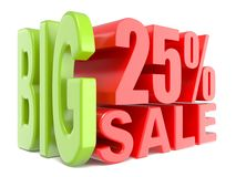 As palavras 3D grandes da venda e dos por cento 25% assinam Foto de Stock