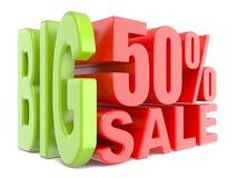 As palavras 3D grandes da venda e dos por cento 50% assinam Imagem de Stock Royalty Free