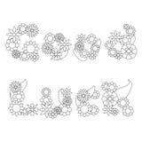 As palavras da boa sorte por flores vector o ornamento para colorir Imagens de Stock