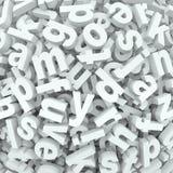 As palavras do alfabeto do fundo do desordem da letra derramaram a confusão Fotos de Stock Royalty Free