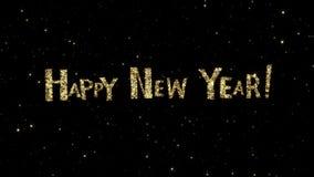 As palavras do ano novo feliz das partículas do ouro formadas em um feriado animaram o fundo vídeos de arquivo
