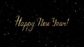 As palavras do ano novo feliz das partículas do ouro formadas em um feriado animaram o fundo video estoque
