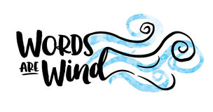 As palavras são projeto da tipografia do vento ilustração do vetor