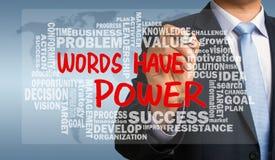 As palavras têm o poder com o desenho relacionado da mão da nuvem da palavra pelo negócio imagens de stock royalty free