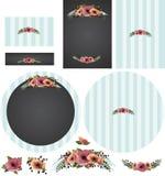 As papoilas do quadro com revestimento protetor listrado no convite ciano ajustaram 2 ilustração stock