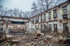 As paredes da construção destruída Foto de Stock Royalty Free