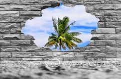 As paredes das paredes de tijolo que têm os furos para ver a natureza podem ser usadas como uma imagem de fundo fotografia de stock