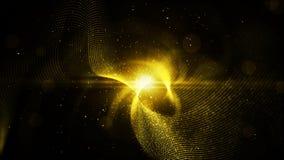 As partículas abstratas da cor do ouro de Digitas torcem e iluminam o fundo Fotografia de Stock