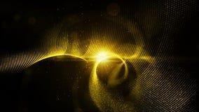 As partículas abstratas da cor do ouro de Digitas torcem e iluminam o fundo Foto de Stock Royalty Free