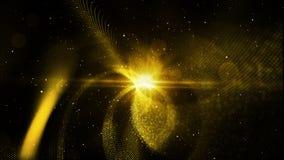 As partículas abstratas da cor do ouro de Digitas torcem e iluminam o fundo Fotos de Stock