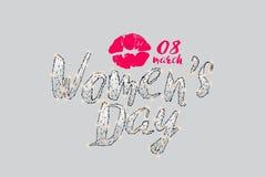 As partículas, a arte geométrica, a linha e o ponto do logotipo do dia do ` s das mulheres Imagens de Stock