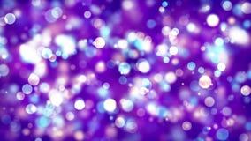 As partículas azuis brancas roxas de brilho de incandescência do contexto do bokeh piscar abstrato espanam com mover-se e cintila ilustração royalty free
