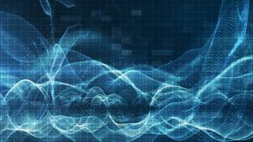 As partículas azuis efervescentes digitais abstratas acenam o fluxo e espanam-no para o fundo do movimento vídeos de arquivo