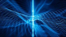 As partículas azuis efervescentes digitais abstratas acenam o fundo do fluxo e do movimento da luz filme