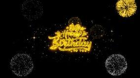 90.as partículas de oro del centelleo del texto del feliz cumpleaños con la exhibición de oro de los fuegos artificiales ilustración del vector