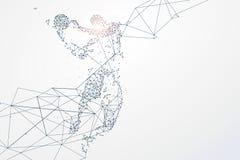 As partículas dos gráficos dos esportes, conexão de rede transformaram em ilustração stock