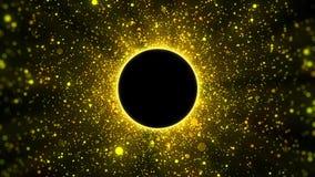As partículas douradas com fundo do copyspace do círculo, deram laços ilustração stock