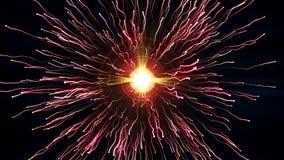 As partículas vermelhas brilhantes com córregos colidem e criam a explosão com as fugas ilustração royalty free