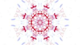 As partículas vermelhas e azuis estão voando lentamente em um fundo branco sum?rio animado 3d rendem video estoque