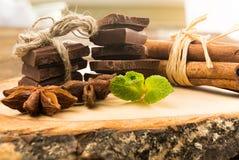 As partes de anis do chocolate, da canela, da hortelã e de estrela no serviço embarcam Imagens de Stock