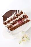 As partes de bolo de chocolate em uma placa Foto de Stock