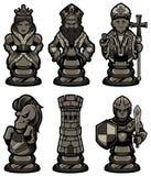 As partes de xadrez ajustaram 2 pretos ilustração stock