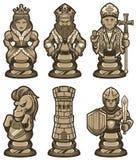 As partes de xadrez ajustaram-se branco ilustração royalty free