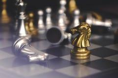 As partes de xadrez knights enfrentar-se para um suporte isolador Cavaleiros da xadrez que confrontam-se imagens de stock royalty free