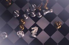 As partes de xadrez knights enfrentar-se para um suporte isolador Cavaleiros da xadrez que confrontam-se imagem de stock royalty free