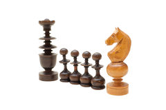 As partes de xadrez no fundo branco Fotografia de Stock