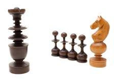 As partes de xadrez no fundo branco Foto de Stock Royalty Free