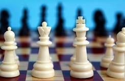 As partes de xadrez são colocadas em uma placa quadriculado para começar um jogo imagens de stock