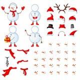 As partes do corpo dos bonecos de neve, grupo do transformador em um branco isolaram o fundo Fotos de Stock