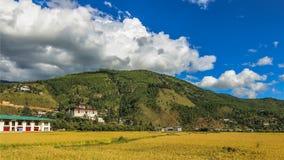 As pastagem de Thimpu e de Tashichho Dzong imagens de stock royalty free