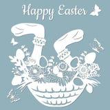 As patas do coelho, cesta, borboleta, dente-de-leão, grama, folhas, flores, camomila, ovo Ilustração do vetor Ovos da páscoa para ilustração royalty free