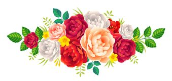 As peônias vermelhas, roxas e cor-de-rosa vector o ramalhete floral, decoração do vintage do cartão de casamento Imagens de Stock