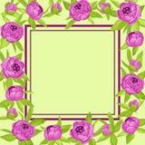 As peônias roxas do vintage em torno do quadro com copyspace para o convite do casamento, cartão da união, bandeira das felicitaç Foto de Stock Royalty Free