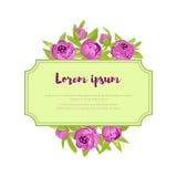 As peônias roxas do vintage em torno do quadro com sinal para o convite do casamento, cartão da união, bandeira das felicitações, Imagens de Stock
