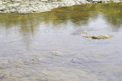 As pedras e a água surgem no rio em Suratthani Foto de Stock