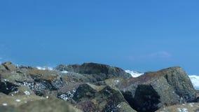 As pedras na costa e em espirrar de mar ondas de água no céu azul ajardinam Ondas de água que quebram na praia rochosa, costa do  video estoque