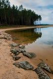 As pedras no mar e na floresta estão refletindo na água foto de stock royalty free