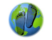 As pegadas do carbono ligam à terra o sumário ilustração stock